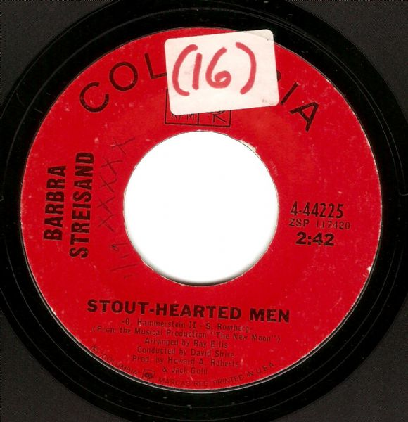 BARBRA STREISAND Stout-Hearted Men Vinyl Record 7 Inch US Columbia 1967